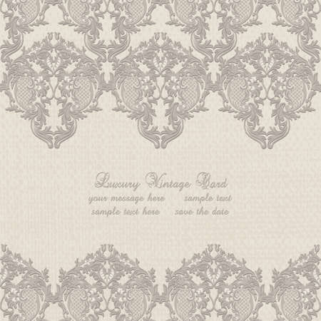 Damask Lace Invitation card with floral ornament. Delicate intricate decorated card for wedding ceremonies, anniversary, party, events. Taupe color