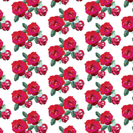Red Roses Pattern Flowers Texture Background For Greeting Cards