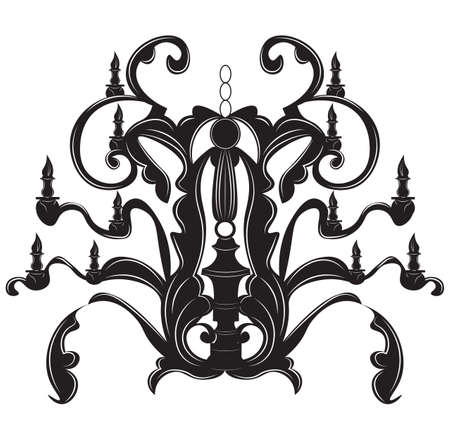 Classic baroque chandelier on white background. Luxury decor accessory design. Vector illustration sketch