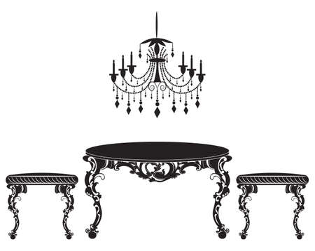 sophisticate: Vintage Baroque luxury ornamented furniture set. Imperial style chairs and table. Vector sketch Illustration