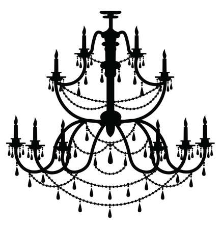 Rich Baroque Classic Chandelier Luxury Decor Accessory Design Vector Illustration Sketch