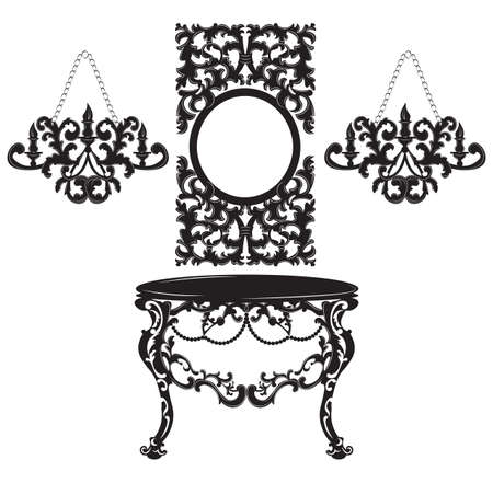 Vintage Baroque Dressing Table and Mirror set. French Luxury rich carved ornaments decor. Vector Victorian exquisite Style furniture and wall lamps