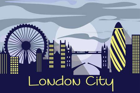 gherkin building: London city silhouette Vector. Linear banner of London city buildings