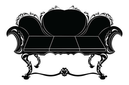 upholstered: Vintage upholstered sofa. Luxury rich carved ornaments furniture. Vector Victorian exquisite Style ornamented chair
