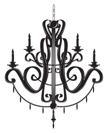 Rich Baroque Classic chandelier. Luxury decor accessory design. Vector illustration sketch Illustration