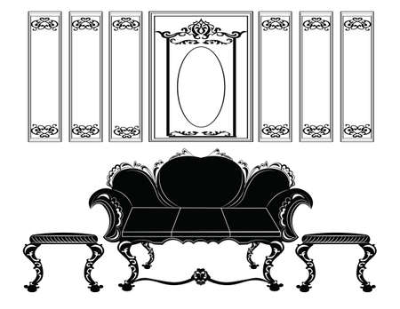 Classic wall frames and furniture. Interior design decoration panels and sofa upholstery. Frontal view. Vector Vettoriali