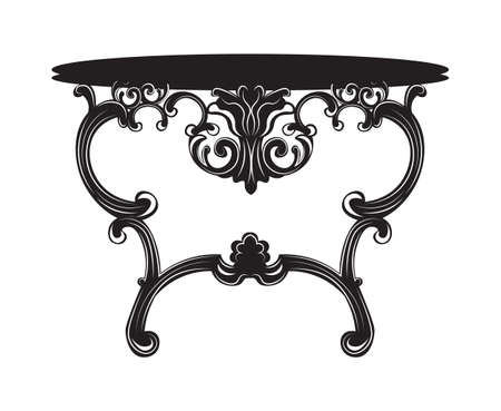 dressing: Rich Baroque commode Table. French Luxury rich carved ornaments decorated furniture. Vector Victorian Royal Style structure Illustration
