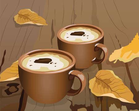 Kopje koffie en herfstbladeren op houten achtergrond. Seizoenskoekjes en koffie in de ochtend concept. Vector illustratie