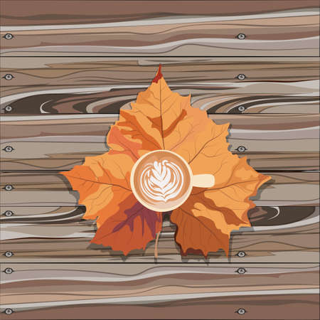 mocca: Hot steaming cup of coffee and autumn leaf on wooden table. Seasonal, still life and morning coffee concept. Vector illustration.