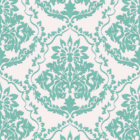 Vintage Baroque damask pattern. Vector decor background. Luxury Classic ornament. Royal Victorian texture for wallpapers, textile, fabric Illustration