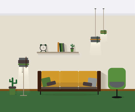Modern Interior Vector. Home Decoration Design Of A Living Room For Web Site,  Print