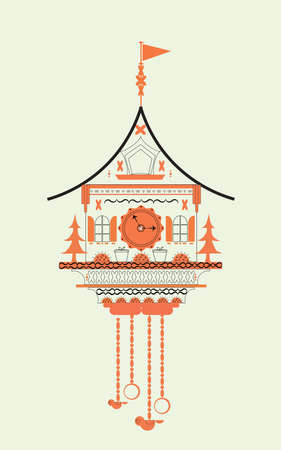 reloj cucu: Reloj de cuco de la ilustración del vector del Doodle estilo plano. color naranja Vectores