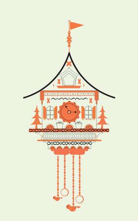 Cuckoo clock flat style doodle vector illustration. Orange color Illustration
