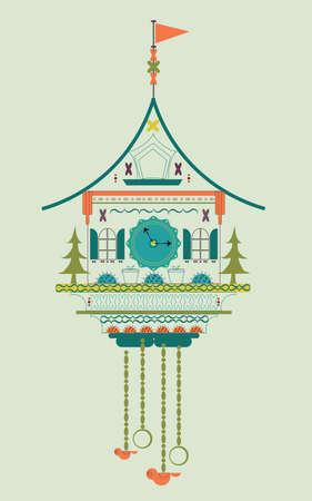 reloj cucu: Reloj de cuco de la ilustración del vector del Doodle estilo plano. Color verde