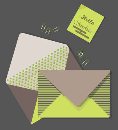 Mail Letters retro envelop on grey backgroundVector Illustration