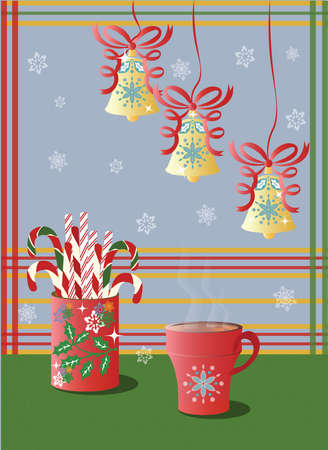 Hot steaming cup of tea and Christmas holidays decorations with bells and snowflakes Vector