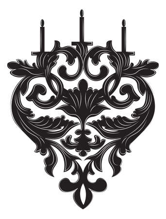 scone: Baroque Elegant lamp with vintage ornaments. Vector Luxury Royal Baroque Style decor. Classic chandelier illustration sketch Illustration