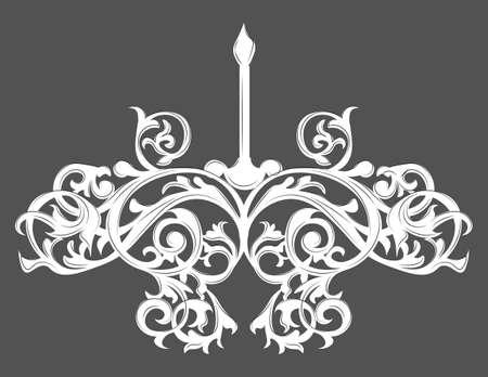 scone: Baroque Elegant lamp Vintage ornamented. Vector Luxury Royal Baroque Style decor. Classic chandelier illustration sketch