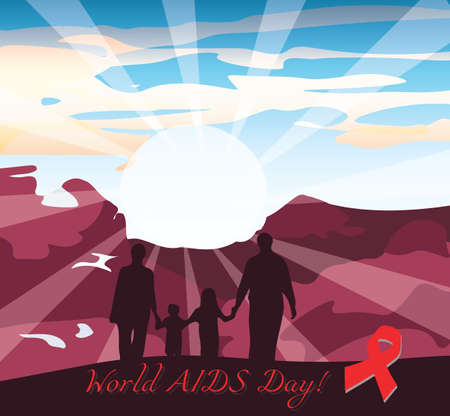 red condom: International AIDS Day Vector illustration. Place for text.