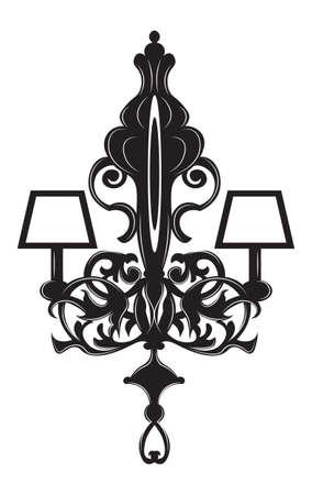 Baroque Elegant lamp Vintage ornamented. Vector Luxury Royal Baroque Style decor. Classic chandelier illustration sketch