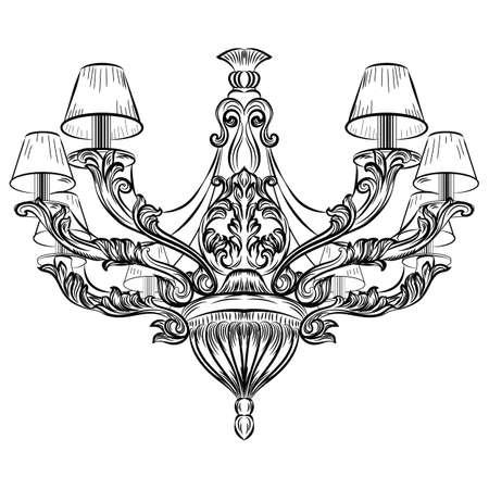 candelabrum: Baroque Exquisite Elegant chandelier Vintage ornamented. Vector Luxury Royal Rich Style decor. Classic lamp illustration sketch