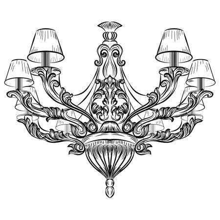 Baroque Exquisite Elegant chandelier Vintage ornamented. Vector Luxury Royal Rich Style decor. Classic lamp illustration sketch