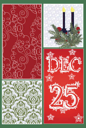 ornamented: Christmas Elegant Ornamented card Vector. Snowflakes and colorful pattern background