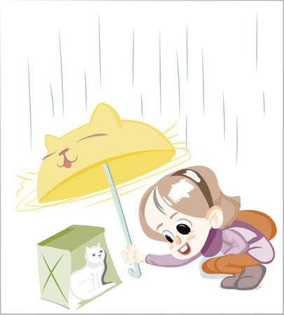 Little Happy Girl under an umbrella Vector illustration. Funny cartoon character standing in a puddle under a dripping of rain. Autumn Fall season preschool girl Illustration