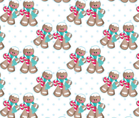 ginger bread: Christmas Ginger bread cookies pattern Vector. Vintage retro background