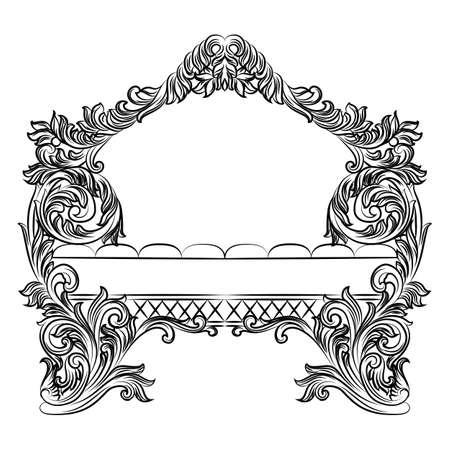 Exquisite Fabulous Imperial Baroque armchair. Vector French Luxury rich intricate ornamented structure. Victorian Royal Style decor Illustration