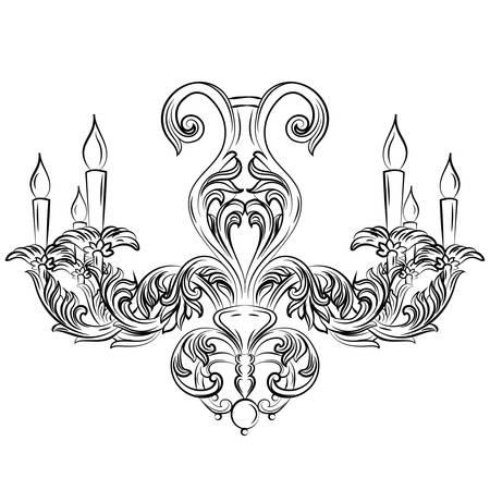 scone: Baroque Exquisite Elegant chandelier Vintage ornamented. Vector Luxury Royal Rich Style decor. Classic lamp illustration sketch