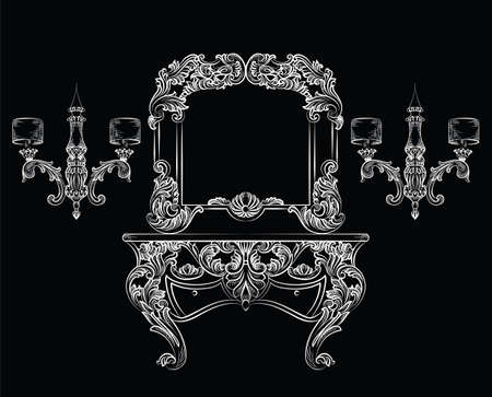 Vector Baroque Dressing Table and mirror frame furniture. French Luxury rich carved ornaments. Victorian Royal Style decorated set on black background