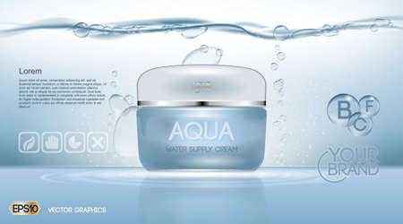 Aqua Crema Idratante annunci cosmetici modello. Lozione idratante viso. Mockup illustrazione 3D realistica. gocce d'acqua frizzante su sfondo blu Archivio Fotografico - 67686577