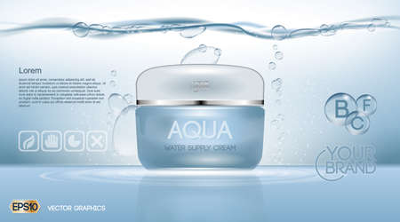 Aqua Cream Moisturizing cosmetic ads template. Hydrating facial lotion. Mockup 3D Realistic illustration. Sparkling water drops over blue background Vectores