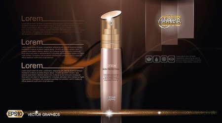 moisturizing: Moisturizing Lotion cosmetic ads template. Hydrating Skin Protection. Mockup 3D Realistic illustration. Sparkling dark background