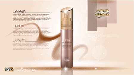 Moisturizing Lotion cosmetic ads template. Hydrating Skin Protection. Mockup 3D Realistic illustration. Sparkling background trendy pastel colors
