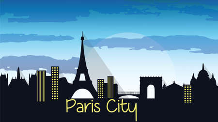 french culture: Paris City Silhouette Vector. Skyline Illustration