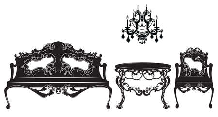 Vintage Baroque sofa and armchairs set. French Luxury rich carved ornaments decorated furniture. Vector Victorian Royal Style structure