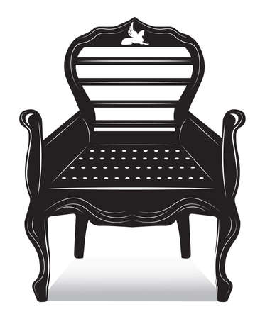 Biedermeier style Chair with rich ornaments. English carved ornaments furniture. Vector Vintage exquisite Style Illustration