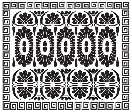 ギリシャ パターンの飾り。古代ギリシャの装飾。ベクトル アンティーク蛇行ボーダー  イラスト・ベクター素材