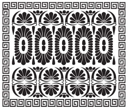 Greek pattern ornament. Ancient Hellenic decor. Vector antique meander borders Çizim