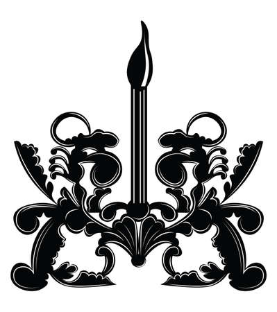 wall lamp: Classic Baroque style wall lamp on white background. Luxury decor accessory design. Vector illustration sketch