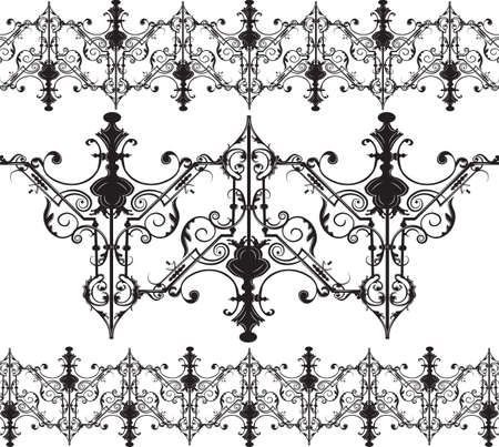 french culture: Vintage Gothic ornament pattern elements. Vector intricate decor
