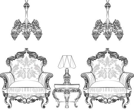 Fabulous Rich Baroque Rococo armchair and lamp table set. French Luxury rich carved ornaments furniture. Vector Victorian exquisite Style decor wooden details Illustration