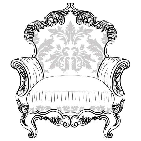 caoba: Exquisita sillón fabuloso Imperial barroco en el ornamento de la tela de lujo. Vector francesa rica estructura intrincada de lujo. Victorian decoración real Estilo