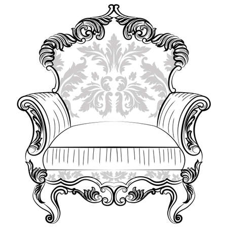 Exquisite Fabulous Imperial Baroque armchair in luxurious fabric ornament. Vector French Luxury rich intricate structure. Victorian Royal Style decor Illustration