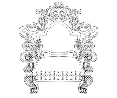 Exquisite Fabulous Rich Baroque Rococo Armchair. French Luxury rich carved ornaments furniture. Vector Victorian exquisite Style decor chair