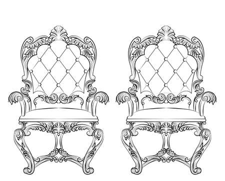 baroque room: Fabulous Rich Baroque Rococo Armchair. French Luxury rich carved ornaments furniture. Vector Victorian exquisite Style decor chair Illustration