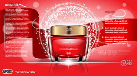 moisturizing: Moisturizing Cream cosmetic ads template. Hydrating face lotion. Mockup 3D Realistic illustration. Sparkling background red colors Illustration
