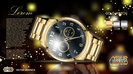 Gold watch mock up.